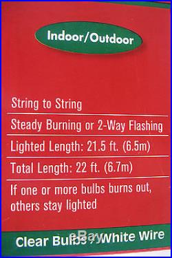 100 Clear Bulb Christmas String Light Set WHITE CORD Indoor Outdoor NEW FREESHIP