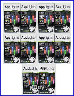 (10) Boxes Gemmy AppLights 24 Faceted LED Bulbs Light Show Bluetooth 140 Effects