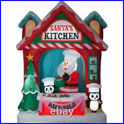 10 FT Gemmy Airblown Inflatable Santa's Kitchen Bake Sale w Penguin Lighted yard