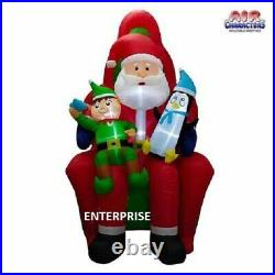 10′FT HUGE SANTA CLAUS IN CHAIR With ELF & PENGUIN AIRBLOWN INFLATABLE YARD DECOR