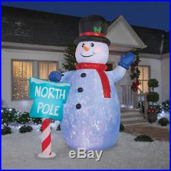 10 Ft Christmas Lighted Snowman Projection Airblown Inflatable North Pole Sign