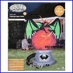 10′ Ft Halloween Dragon On Fire & Ice Globe Airblown Inflatable Lightshow Yard