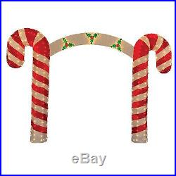 10′ Pre-Lit Candy Cane Christmas Archway Yard Art Decoration Clear Lights