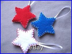 10 patriotic star ornaments, American flag decor, USA christmas decorations