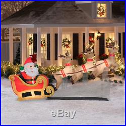 10ft Santa Sleigh & Reindeer Christmas Lighted Airblown Inflatable Outdoor Decor