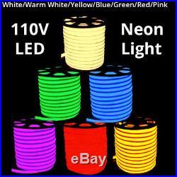 110V Commercial LED Flexible Neon Rope Strip Light Decor Flex Tube Sign Outdoor