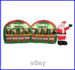 11 Ft Santa And Reindeer Stable Christmas Airblown Inflatable. Nib
