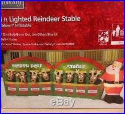 11′ SANTA REINDEER NORTH POLE STABLE Christmas Airblown Inflatable Yard Decor