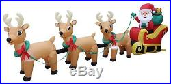 12Ft Lighted Christmas Inflatable Santa Claus Sleigh 3 Reindeer Airblown Outdoor
