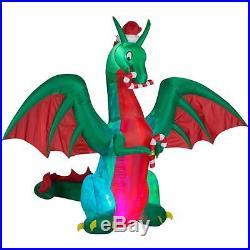 12 CHRISTMAS GEMMY SANTA Hat DRAGON CANDY CANE Airblown Inflatable Yard Light