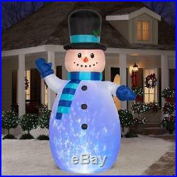 12' CHRISTMAS PROJECTION KALEIDOSCOPE SNOWMAN INFLATABLE HOLIDAY YARD DECOR
