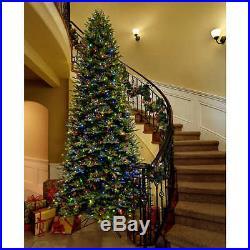 12 Foot Artificial Christmas Tree Pre Lit Aspen Fir Multi Color 1200 LED Lights