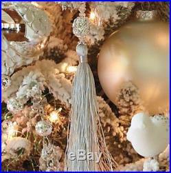 (12) Frontgate Handmade Silver Crystal Beaded Tassel Ornaments