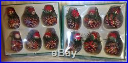 12 NEW PINECONE PEOPLE CHRISTMAS TREE ORNAMENTS Red/White