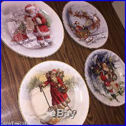 12 NEW Pottery Barn NOSTALGIC SANTA DINNERWARE Dinner Plates set of twelve NIB