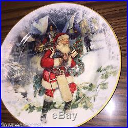 12 NEW Pottery Barn NOSTALGIC SANTA DINNERWARE set 12 SALAD Plates NIB CHRISTMAS