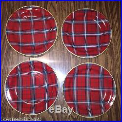 12 NEW Williams Sonoma TARTAN SALAD PLATES set of 12 PLAID RED Christmas Decor