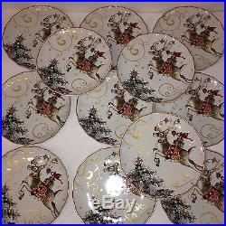 12 New Williams Sonoma'TWAS THE NIGHT BEFORE CHRISTMAS Dinner Plates REINDEER