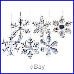 12 Piece 2 Iridescent Glass Snowflake Christmas Tree Ornaments Decorations Set