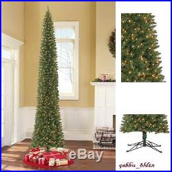 12 Pre-Lit Pencil Christmas Tree Clear Lights Tall & Narrow Holiday Decor Green