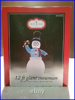 12′ Snowman & Candy Cane Gemmy Christmas Yard Frosty Inflatable Gemmy