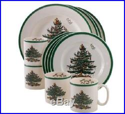 12 pcs Serving for 4 Dinner Plates Holiday Christmas Tree Gift Porcelain Xmas
