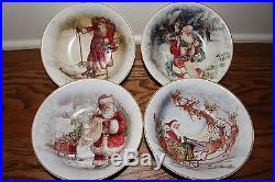 12p New Pottery Barn Nostalgic Santa 4 dinner & 4 salad plates & 4 cereal bowls