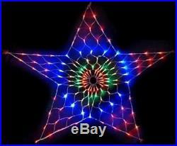 130 Led 45cm Star Net Light Multi Colour Flashing Xmas Christmas Window Xm0592