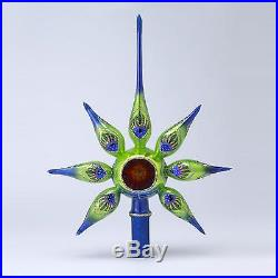 13 David Strand Designs Glass Starlight Peacock Retro Christmas Tree Topper