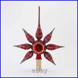 13 David Strand Designs Glass Starlight Stewart Plaid Christmas Tree Topper