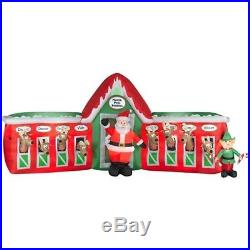 13′ Gemmy Santa & Reindeer Stable Christmas Inflatable Airblown Yard Decor