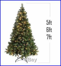 153, 182, 213cm Artificial Christmas Tree Warm White Pre-Lit Led Xmas Green