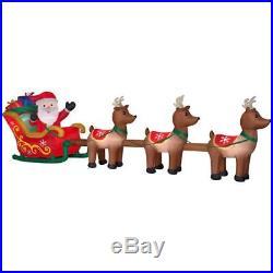 16′ Long Santa Sleigh And Reindeers Christmas Airblown Yard Inflatable Pre Lit