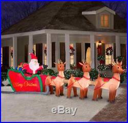 16′ Wide GIANT Inflatable Santa Sleigh & Reindeer Christmas Airblown Yard Decor