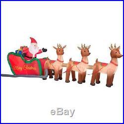 16 ft Inflatable Christmas Santa Sleigh Reindeer Lawn Holiday Yard Xmas Airblown
