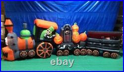 17 1/2′ Gemmy Airblown Inflatable Halloween Train with Ghost & Vampire In Coffin