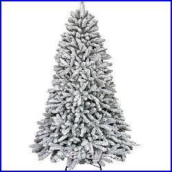 1820 Tips 7FT Artificial Flocked Snow Christmas Tree Flame Retardant White Trees