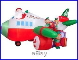 18.5 FT WIDE HUGE! Airblown Inflatable Giant Airplane Lighted Santa Christmas