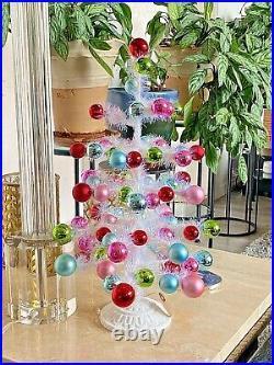 18.5 WHITE TINSEL & ORNAMENT TREE PASTEL COLORS CHRISTMAS RAZ 3932732 NEW CuTe