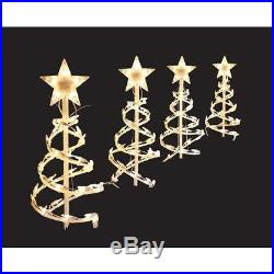 18 in. Clear Spiral Tree Pathway Lights Outdoor Christmas Decorations (Set of 4)