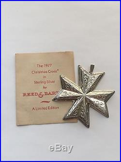 1977 Sterling Silver Reed and Barton Annual Christmas Cross Ornament 16g