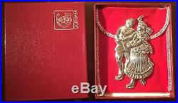 1983 Sterling Silver Gorham American Heritage Skaters Ornament with Box & Pouch