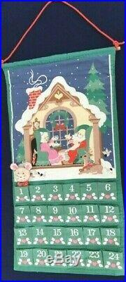 1987 Avon Fabric Advent Calendar CHRISTMAS COUNTDOWN Mouse Santa Claus