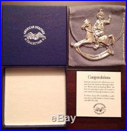 1990 Sterling Silver Gorham American Heritage Rocking Horse Ornament Box & Pouch