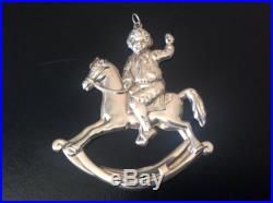 1990 Sterling Silver Gorham American Heritage Rocking Horse Ornament With Box
