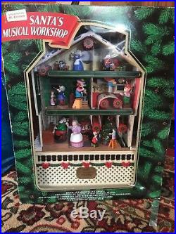 1995 SANTA'S MUSICAL WORKSHOP BY MR CHRISTMAS LIGHTED & ANIMATED With Box