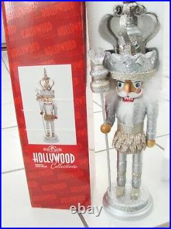 19 Kurt Adler Hollywood Platinum Silver Glitter King Christmas Nutcracker NEW