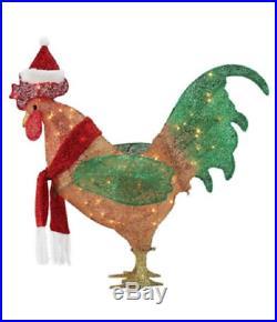 19 L Gemmy Christmas Rooster Santa Hat Yard Decor Lighted
