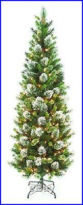 (1) 7′ Wintry Pine Slim Artificial Tree 300 Clear Lights Twp3-304-70