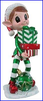(1) New 38 Elf Statue With Gift Box & Led Lighted Ornament 17819 By Reson